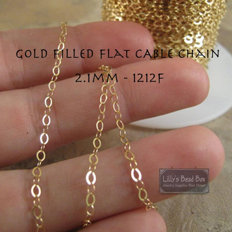 Gold Thin Chain 14/20 Gold Filled Cable Chain By the Foot