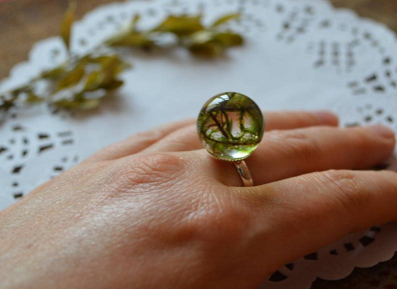 Green woodland ring resin ring sister gift for friend