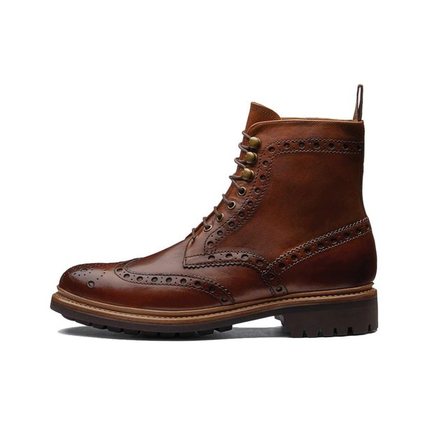 Grenson Fred Triple Welt Tan Leather Brogue Boot