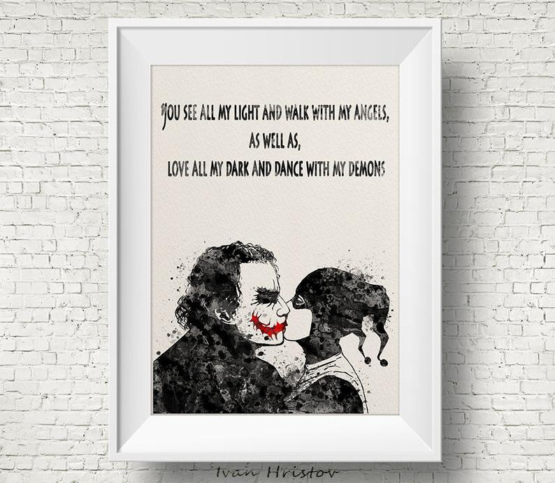 Joker and Harley Quinn Inspired Quote 1 Watercolor Painting