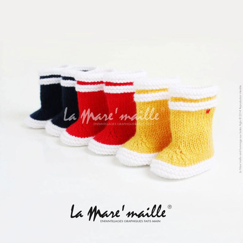 La Mare'maille baby rain boots in wool tribute to the