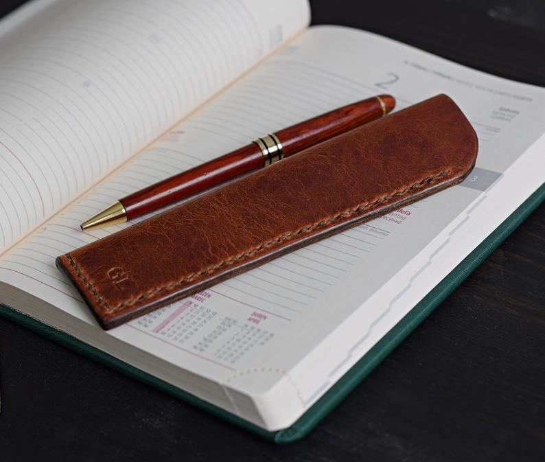 Leather pen sleeve Horween leather pen case Horween Dublin