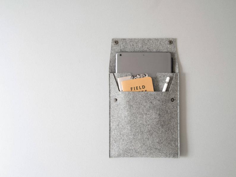 Made in the USA  Felt iPad Sleeve with Flap and Pocket  Grey