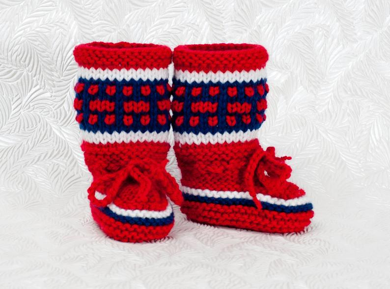 Montreal Canadiens Inspired Baby Boots-Knitted Baby Booties