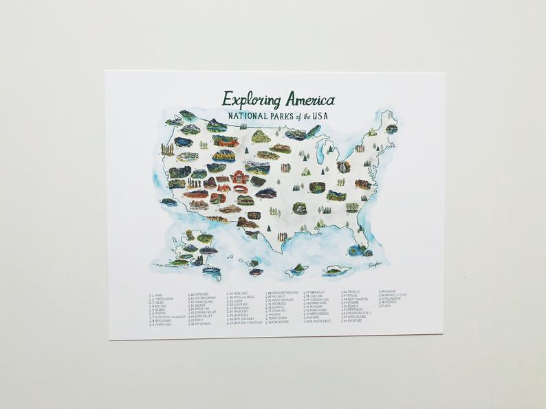National Parks Map with Checklist ALL 61 PARKS