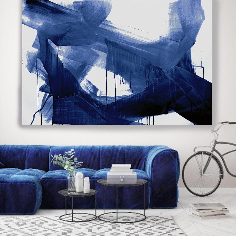 Navy Blue Abstract Painting Sargasso Sea Blue Modern Art