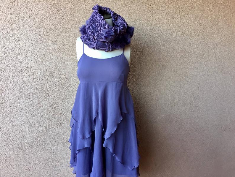 Purple Scarf for Women Fashion Scarf Hand Knit Purple Fashion