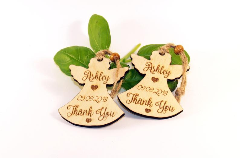 Rustic Baptism favors Christening favors Baptism wood angel