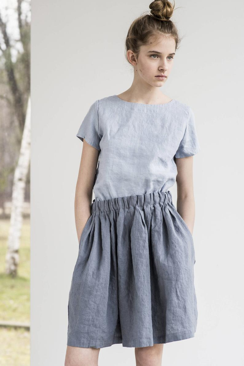 Short linen skirt BARI / Comfortable linen skirt with wide