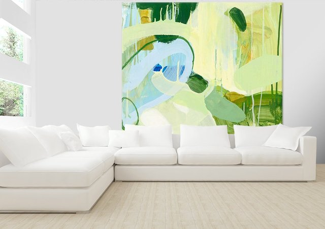 Spring Rain 2. Giant Abstract Art Print on Canvas. 84 x 84 inches.