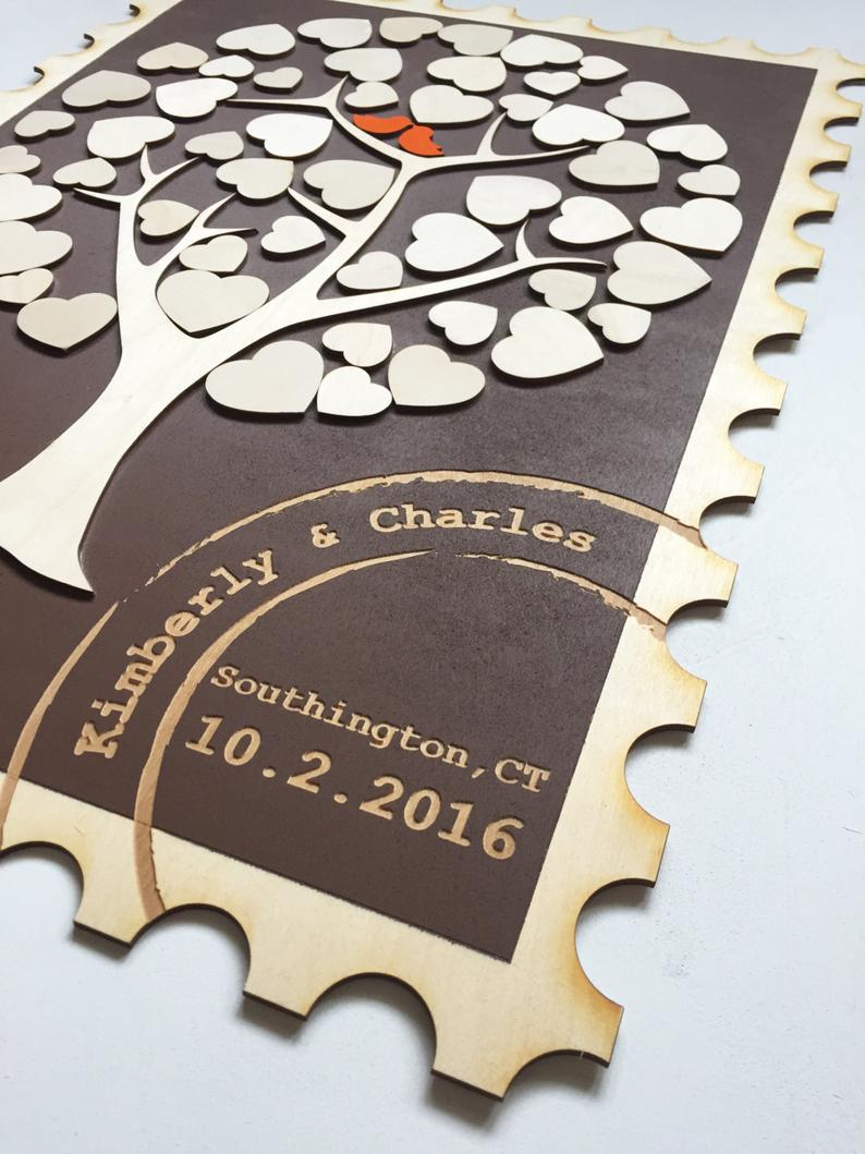 Stamp Shaped Guest Book Alternative wedding guestbook with 3D