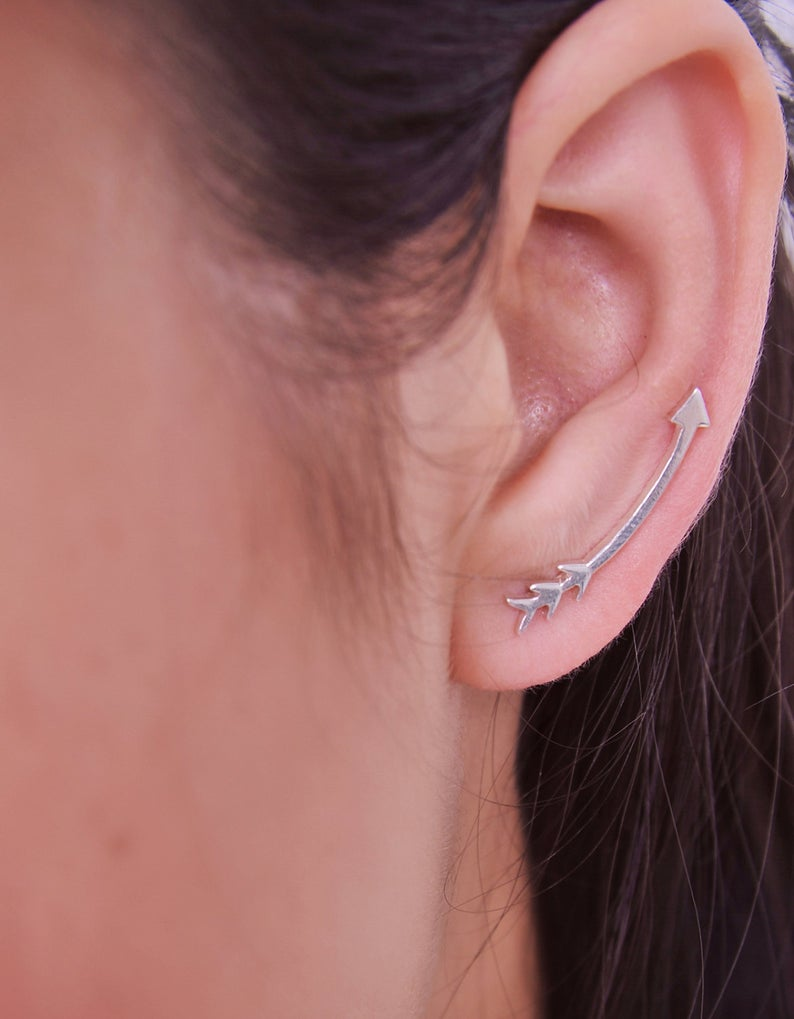 Sterling Silver Arrow Ear Crawler Ear Climber Ear Sweep Fun