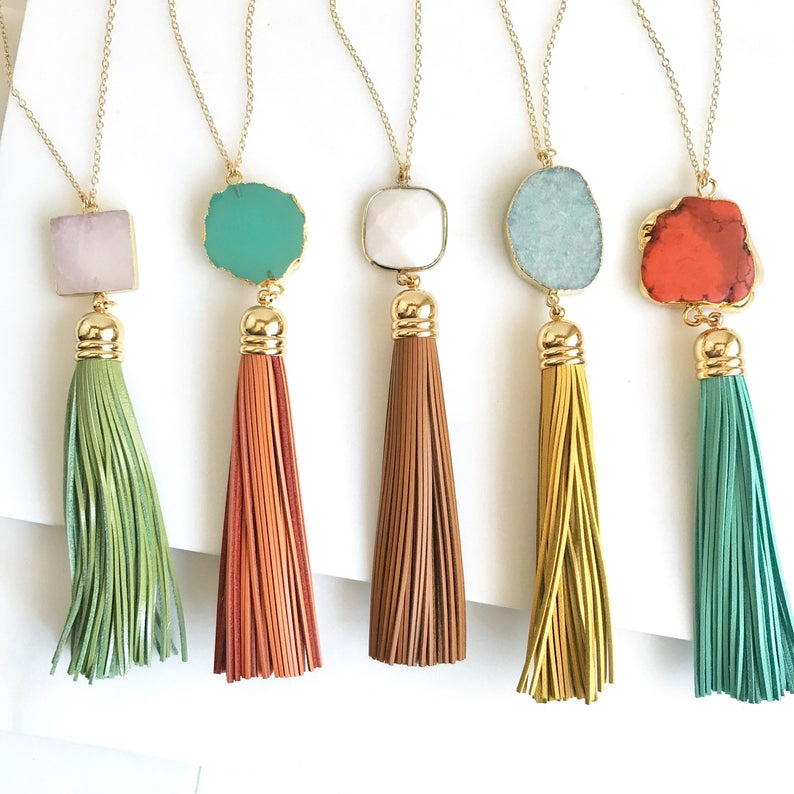 Tassel Necklace. Leather Tassel Necklace. Turquoise Orange
