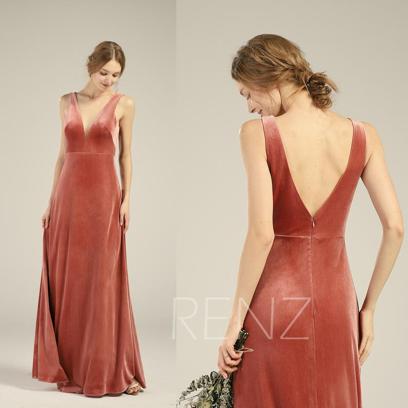 Velvet Bridesmaid Dress Velvet Dresses for Women V Neck