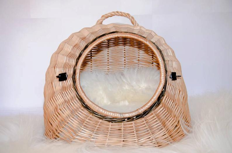 Wicker Cat Basket Willow Basket for Cats and Small DogsPet