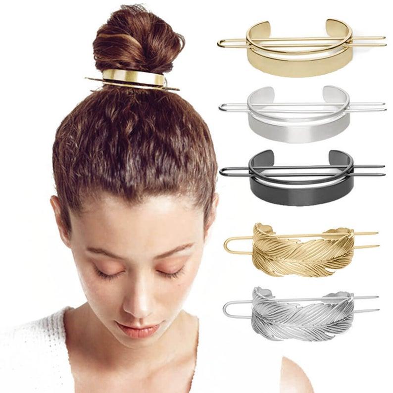 Alloy Round Top Hair pins Bun Cage Minimalist Bun Holder Cage