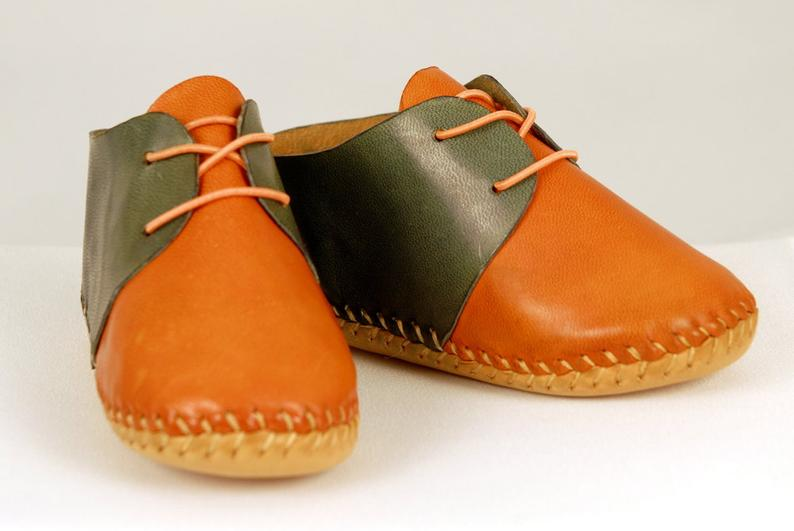 Baby shoes Orange-blue shoes Baby Moccasins Leather