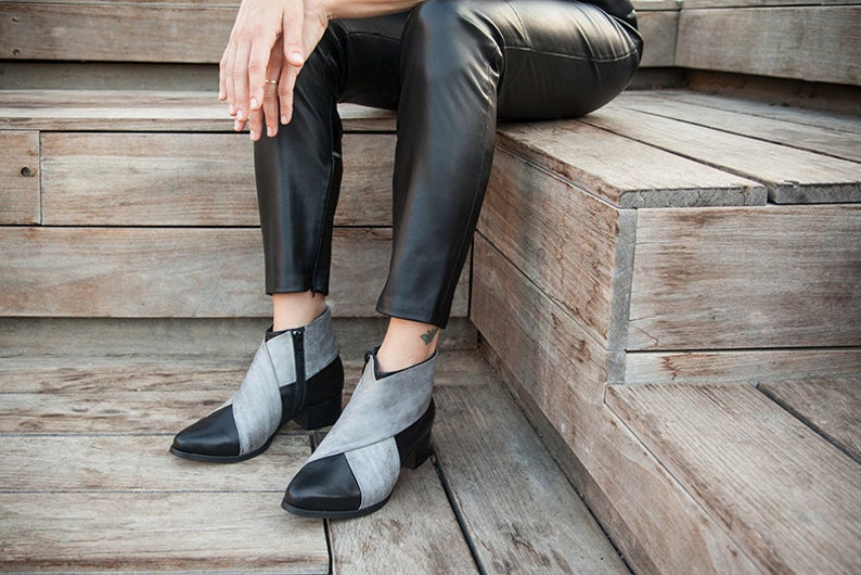 Black Leather Boots Black Leather Shoes Woman Gray Shoes