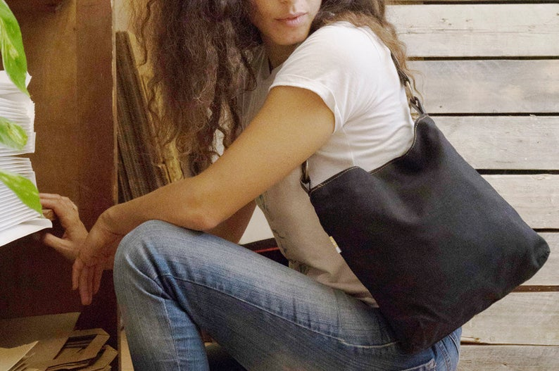 Black canvas purse vegan shoulder purse small purse vegan