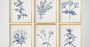 Blue Botanical Prints Blue Wall Art Vintage Botanical