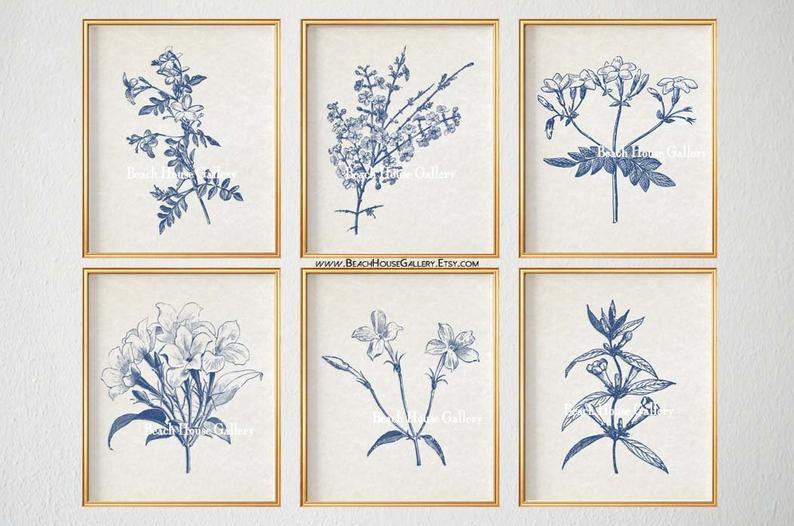 Blue Botanical Prints Blue Wall Art Vintage Botanical