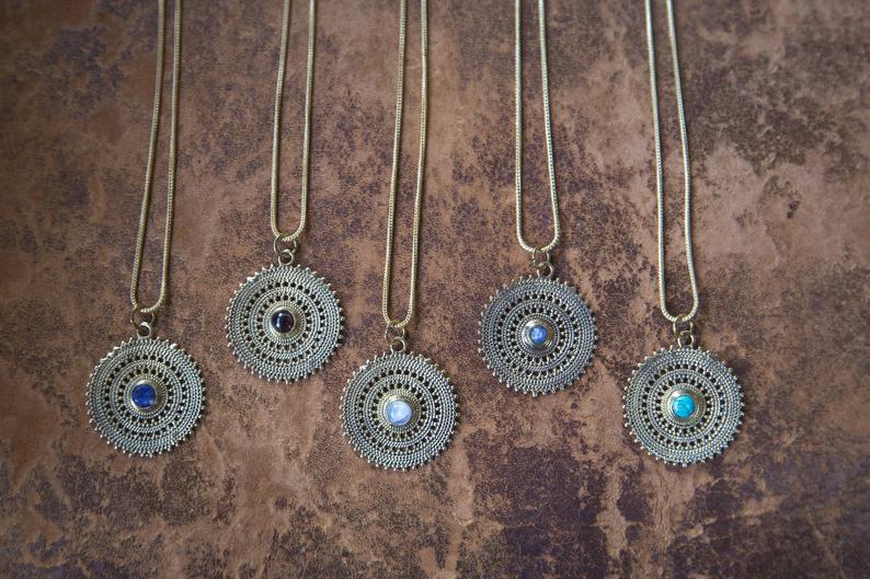 Brass and Stones Pendant Surya / Pendentif Soleil en Laiton et