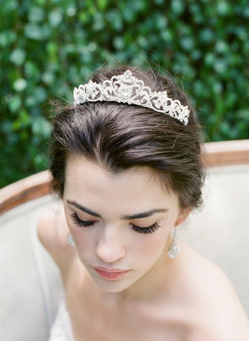Bridal Tiara Crystal Heart Tiara  SELINA Swarovski Bridal