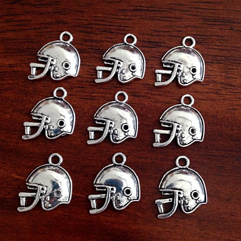 Bulk 20 Football Helmet Charms Antique Silver Charms