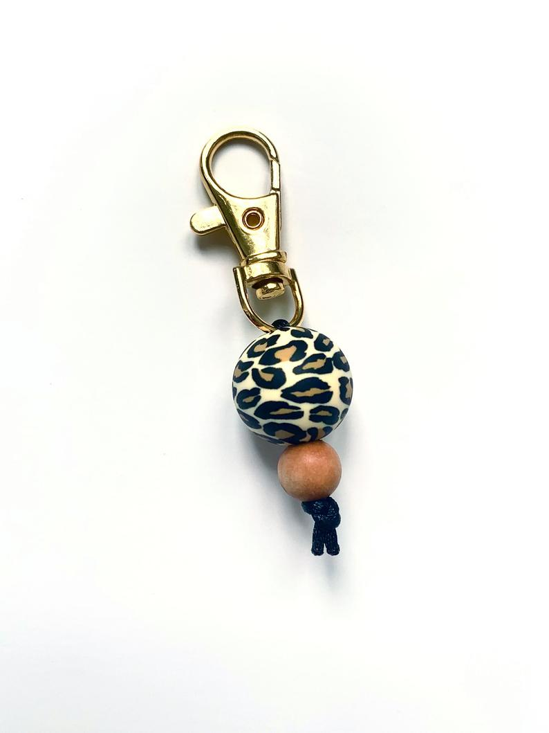 CHARMS // Leopard print book bag zipper pull purse charm