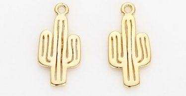 Cactus Pendant Polished Gold Plated  2 Pieces P0609-PG