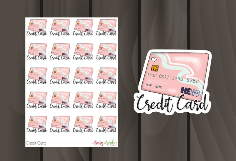Credit Card Stickers  Bill Pay Stickers  Typography Stickers
