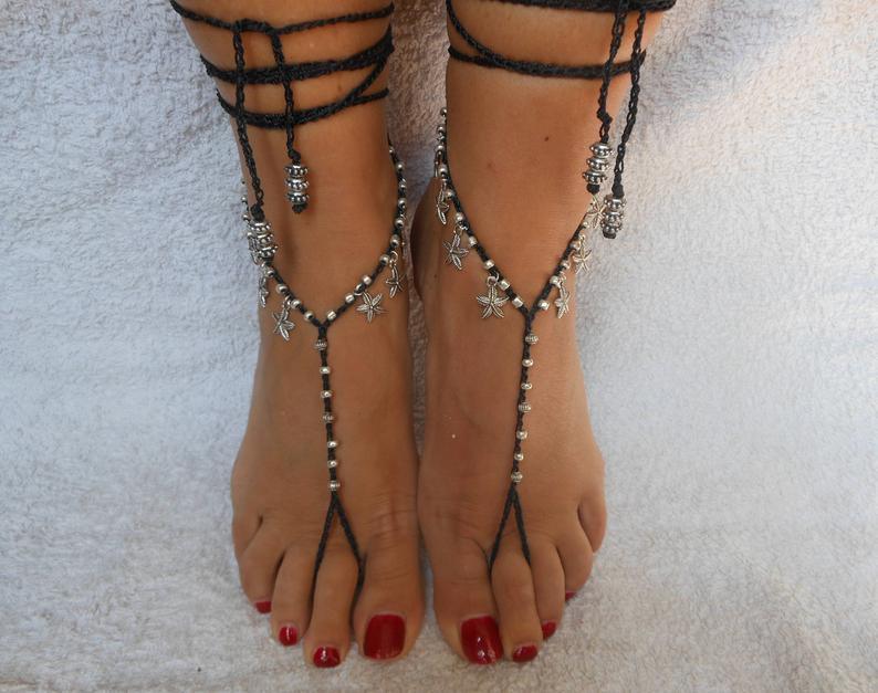 Crochet Barefoot Sandals Beach Wedding  Yoga Shoes Foot