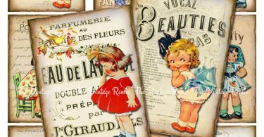 Digital Collage Sheet Vintage Girls Printable Download