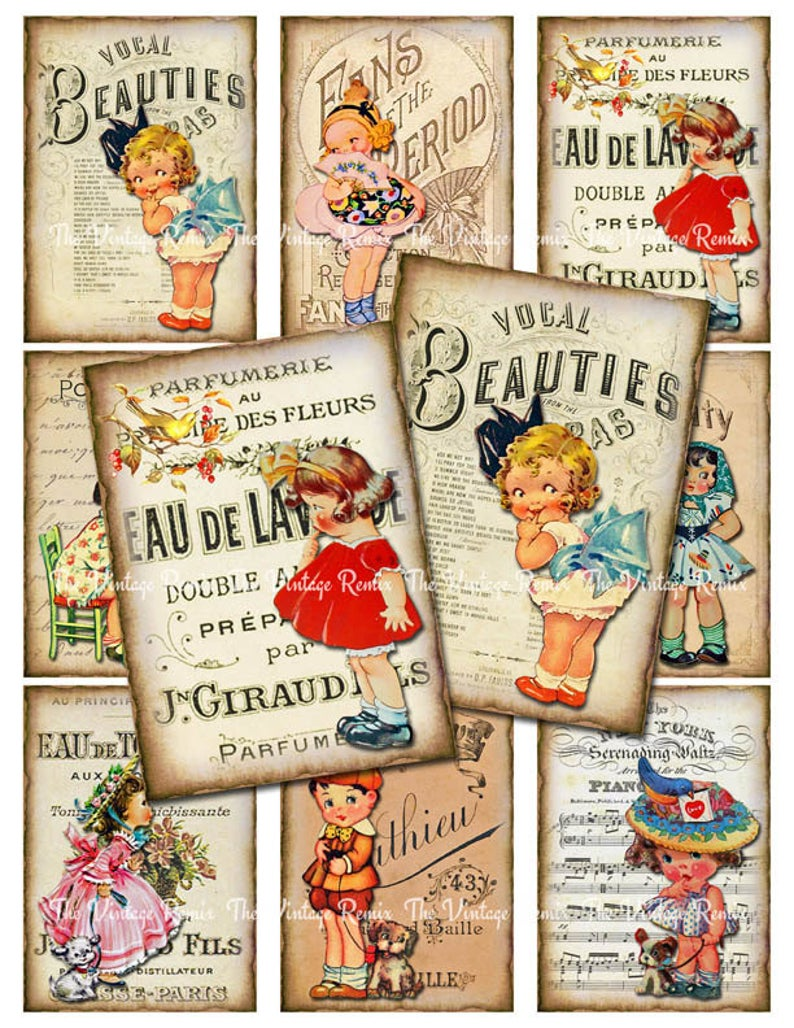 Digital Collage Sheet Vintage Girls Printable Download