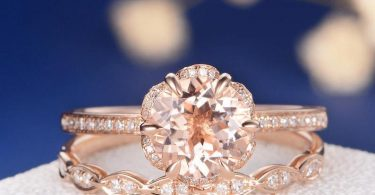 Flower Morganite Engagement Ring Rose Gold Unique Bridal Set