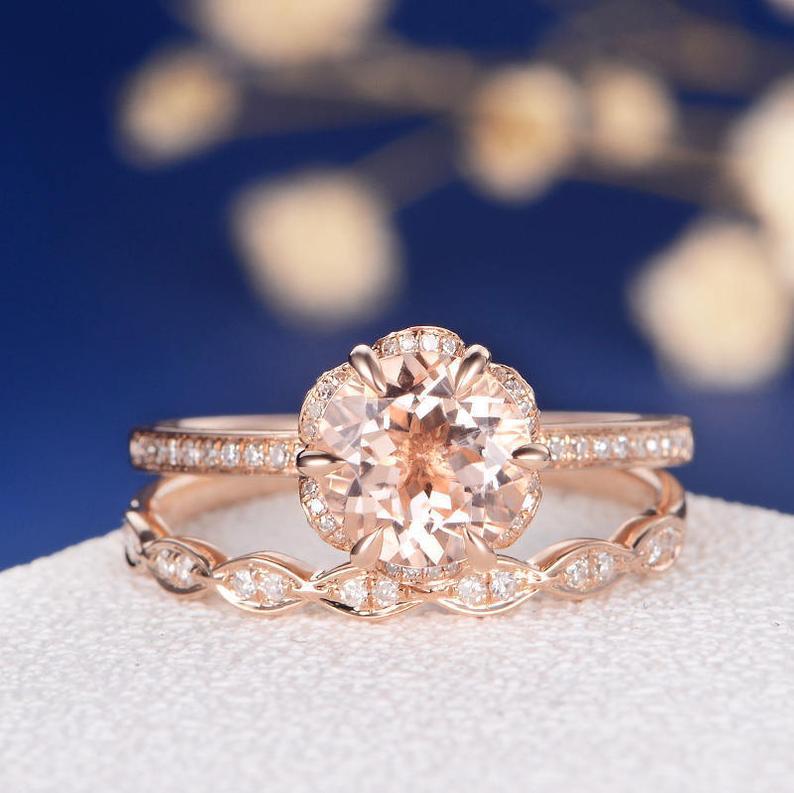 Flower Morganite Engagement Ring Rose Gold Unique Bridal Set