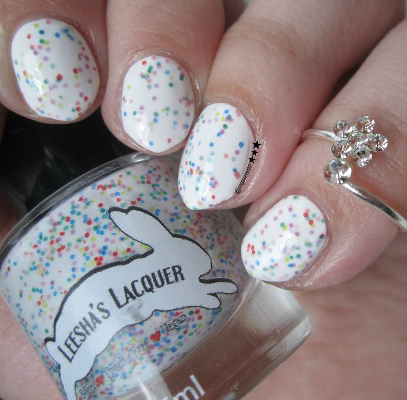 Fruity O's Cereal  White Crelly Indie Nail Polish