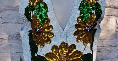 GROOM VEST Vintage Sequined Embroidered Groom Vest Country
