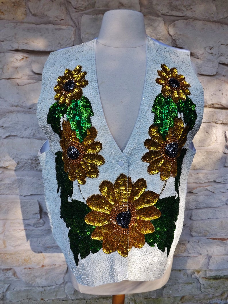 GROOM VEST Vintage Sequined Embroidered Groom Vest Country