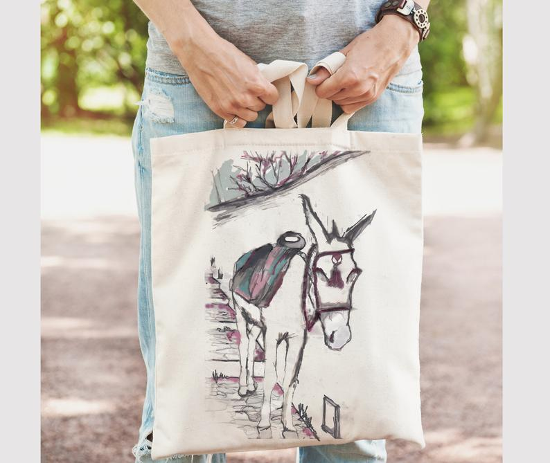 Greek donkey beach bag tote made in Greece and reminds of