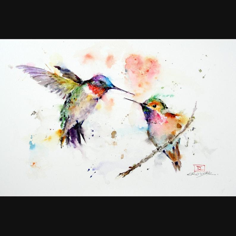 HUMMINGBIRDS Watercolor Bird Print Hummingbird Painting by