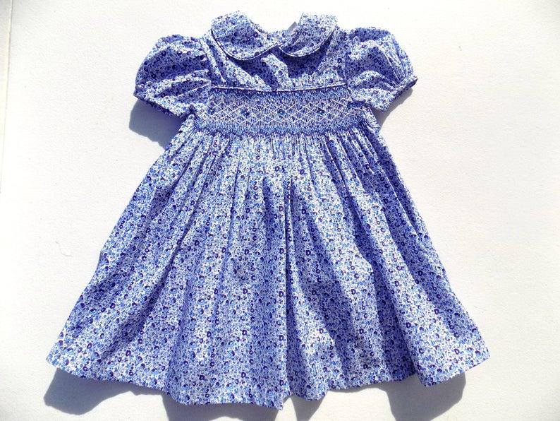 Little girl dress floral blue toddler cotton dress handmade