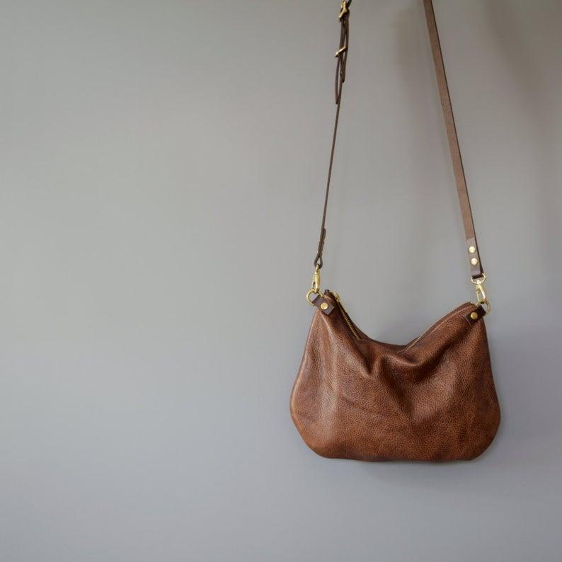 Minimalist leather crossbody bag  ISLA  Walnut Brown