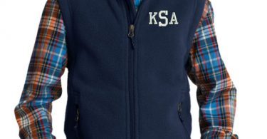 Monogram Kids Fleece Vest  Embroidered.  Monogrammed Youth