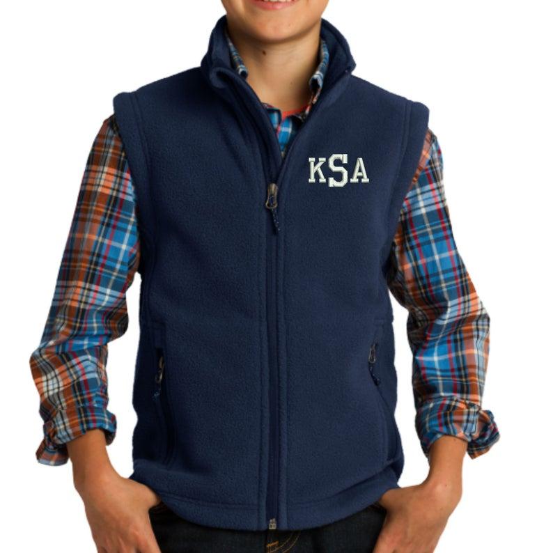 Monogram Kids Fleece Vest  Embroidered.  Monogrammed Youth