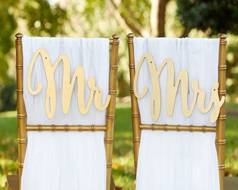 Mr and Mrs Chair Sign Bride and Groom Chair Signs Gold Wood