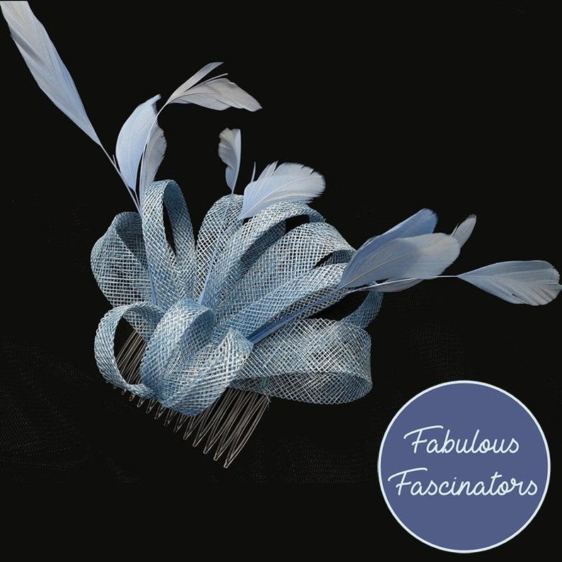 Pale Blue Fascinator Hair Clip Comb Wedding Hat Derby Hat