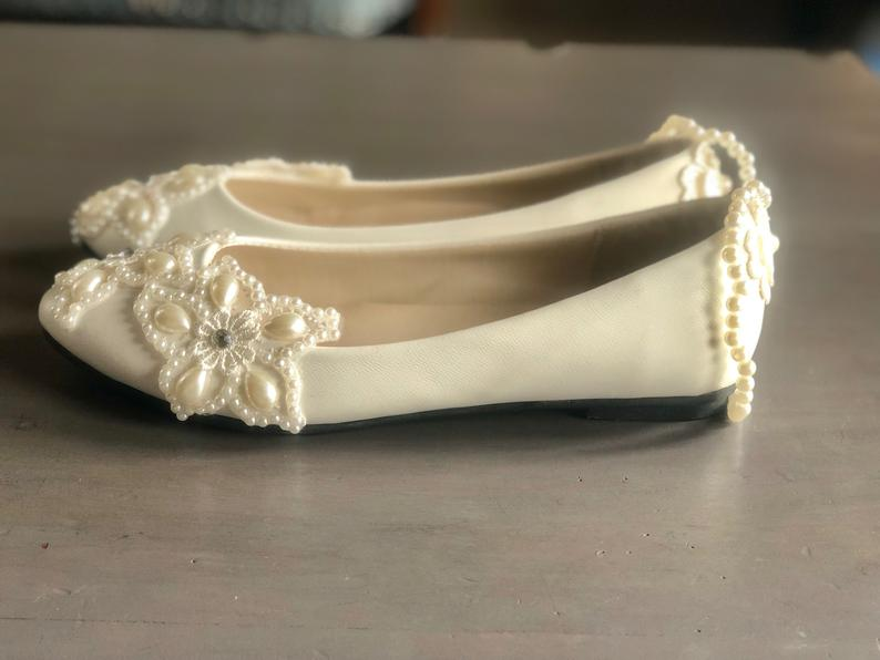 Pearly flats low heel Wedding shoes. Wedding flat shoes.