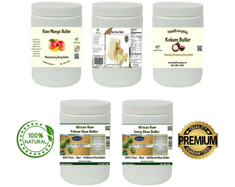 Raw African Shea  Mango  Cocoa  Kokum Butter 100% Organic
