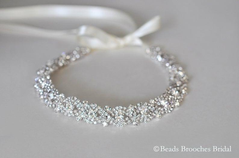 Rhinestone Wedding Headband Silver Bridal Headpiece Silver